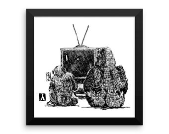 KillerBeeMoto: Unframed Print from Pen Sketch of Gorilla and Chimpanzee Playing Pong 12 by 12 Inches
