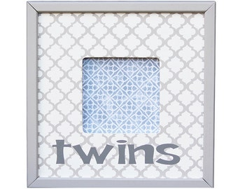 twins picture frame- gift for twins- nursery decor- baby shower gift- unique gift- gray trellis frame-kids frame- frame for kids- twins gift