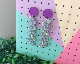 Luxe Glitter Squiggle Earrings, Luxe Foil Squiggle Earrings Luxe Glitter Squiggle Dangles Luxe Foil Squiggle Dangles Chunky Glitter Earrings