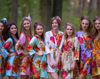 Large Floral Blossom Silk Bridesmaids robes | Kimono Style getting ready robes, Satin Robes, Bridesmaids gifts Bridesmaid Robes, Silky Robes