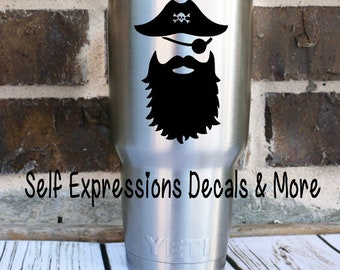 Pirate Beard Beards Decal Yeti Tervis Cup Decal