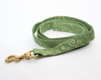 Green and Gold Swirls Leash