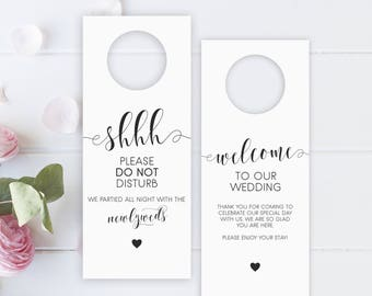 Printable wedding Door Hanger Wedding favor Wedding door hanger wedding hotel door hanger, rustic door Itinerary sign Do not disturb sign