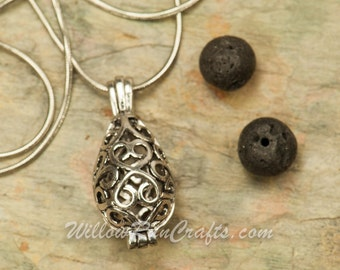 Essential Oil Diffuser Necklace TearDrop Vintage Locket Aromatherapy with Chain  (19-34-035)