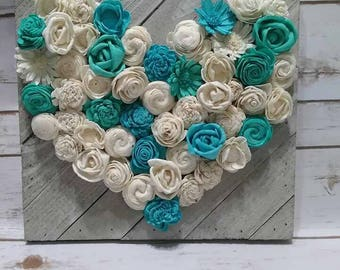 Wood pallet wall decor heart made with natural sola wood flowers. mini version