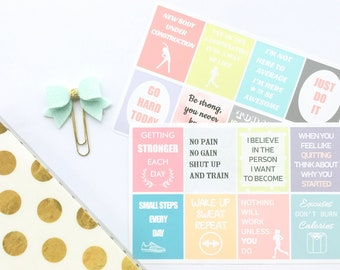 Motivational Stickers, Fitness Stickers for Erin Condren, Diet Stickers, Exercise Workout Planner Stickers, Quote Stickers, Gym Stickers