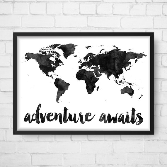 Adventure awaits map travel quote world map watercolor map gumiabroncs Image collections
