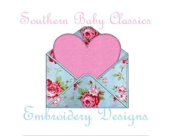 Valentine's Day Love Letter Heart Envelope Vintage Blanket Stitch Applique Design File for Embroidery Machine Instant Download Stationary