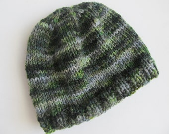 Baby's Handknit Hat, Shades of Green and Grey, Baby's Gift, Winter Hat for Baby