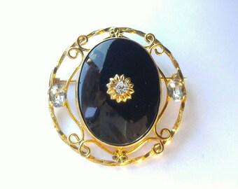 PR. ST. Co. 1/20 12k gold Mourning pin black stone