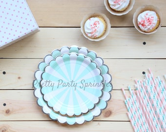 Mint Blue and Silver Foil Paper Plates, Dessert Plates, Dinner Plates, Birthday Decor, Baby Shower, Kate Spade Bridal Shower, Wedding Decor