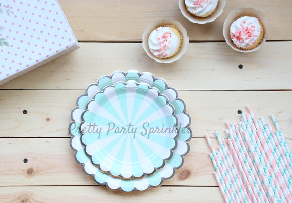 Mint Blue and Silver Foil Paper Plates Dessert Plates Dinner Plates Birthday Decor Baby Shower Kate Spade Bridal Shower Wedding Decor from ... & Mint Blue and Silver Foil Paper Plates Dessert Plates Dinner ...
