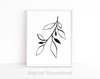 Minimalist Poster, Botanical Wall Art, Scandinavian Print, Plant Art, Ink Line Drawing, Leaf Print, Printable Art, Black & White Wall Art