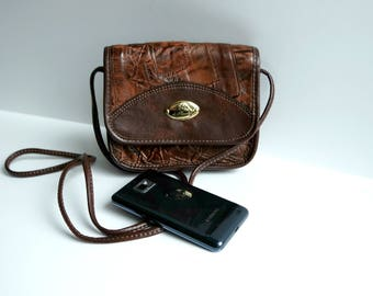 Vintage Small Leather Crossbody Bag, Brown Leather Shoulder Bag, Leather  Purse,Festival Bag