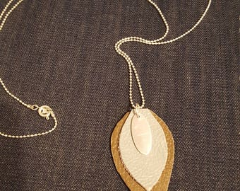 Layered Leather leaf drop necklace