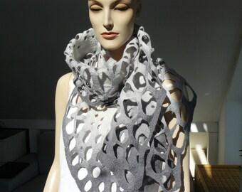 Felted Scarf merino wool silk Hand made felt shawl - Grey scarf