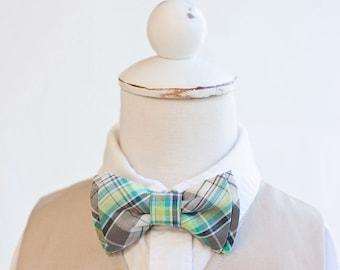 Bow Tie, Bow Ties, Boys Bow Ties, Baby Bow Ties, Bowtie, Bowties, Ring Bearer, Bow ties For Boys - Aqua, Grey, Lime Organic Madras Plaid