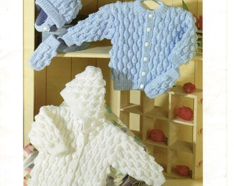 PDF Instant Download Vintage Baby knitting pattern boys/girls Cardigan Hoodie Mittens Hat, Double Knitting 0-7 years