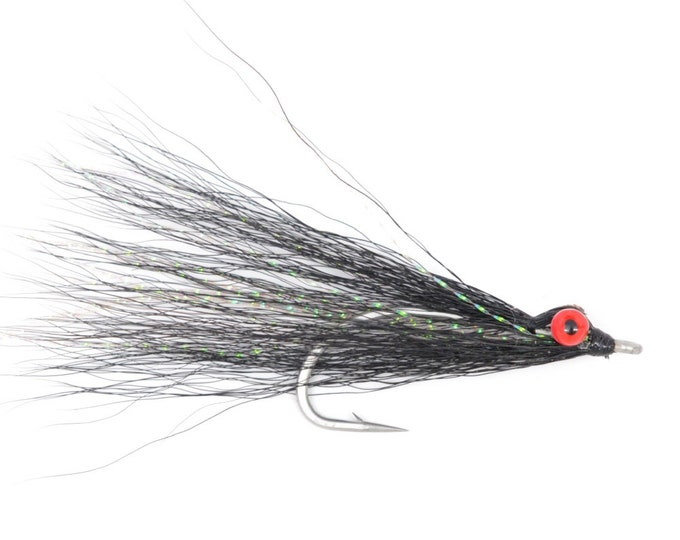 Clousers Minnow Fly Fishing Flies  - Black Clouser Saltwater and Bass Flies - Hook Size 1/0