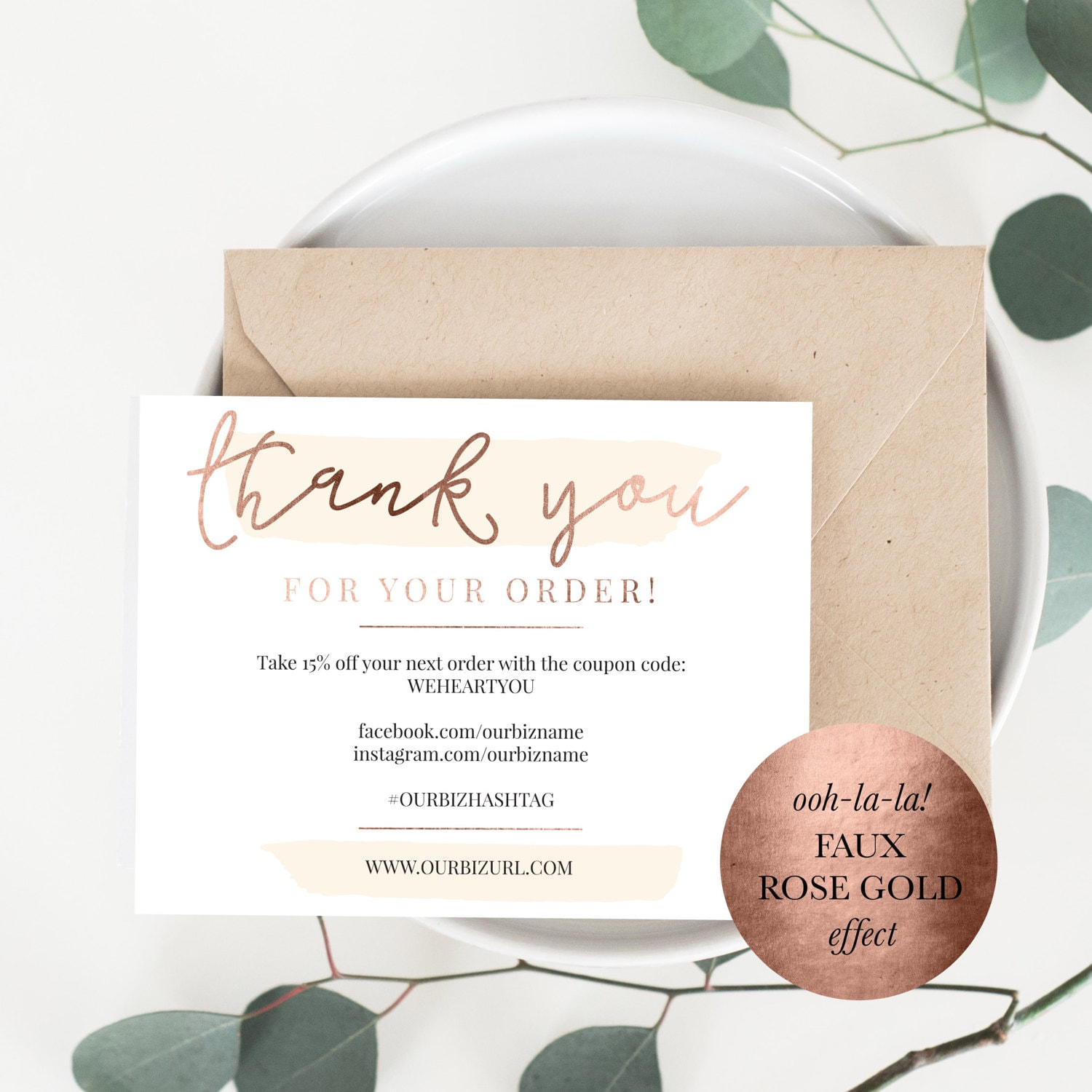 INSTANT Business Thank You Cards Editable PDF Packaging