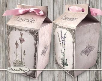 Lavender Milk Box printable Favor Box paper crafting diy digital download box pattern instant download digital collage sheet - VDBXVI1238
