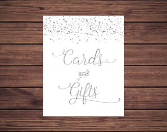 Cards and Gifts Sign, Cards and Gifts Sign, Silver Confetti, Instant Download PDF Printable