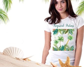 Women's Tropical Palms T-Shirt,Tropical Tee, Tropical Foliage T,Palm Trees T Shirt,Tropical Apparel,Cotton Tee,Palm Beach Chic,Tropical Gift