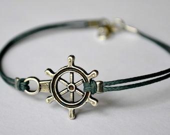 Ship wheel bracelet, men's bracelet with silver plated ship wheel, blue cord, bracelet for men, Valentine's gift for him, nautical, maritime