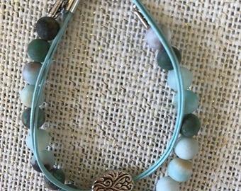 "Aqua beaded double strand bracelet.  8"""