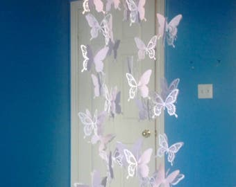 Butterfly Mobile Lilac White and Soft Purple Mauve or Choose your colours