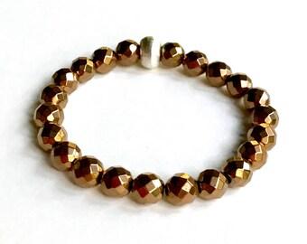 Bronze Hematite Minimalist Sterling Silver Beaded Partner Bracelet Minimalist Unisex Him or Her Under 50 Free Gift Wrap