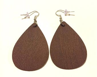 Leather Teardrop Earrings, Trendy Leather Earrings, Drop Leather Earrings, Brown Leather Earring, 2 inches. 5 shades to choose from