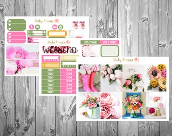 Spring Forward Weekly MINI Kit | Erin Condren Planner Stickers | Happy Planner | Flower Stickers