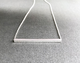 Silver Bar Necklace, Minimal Horizontal Square Rod Geometric Modern Simple Layering Sleek Sliding Straight Tube Pendant, Sterling Silver