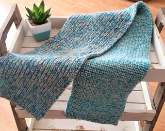 Blue/white yarn scarf - handmade knitted yarn cozy scarf - turquoise blue knitted accessory - winter knitted cozy warm scarf gift