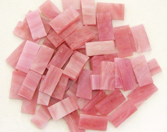 Mosaic Tiles Pink Rectangles Stained Glass Hand Cut