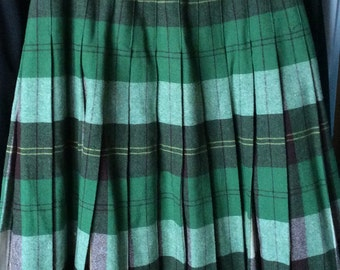 VINTAGE PLAID SKIRT, wool,  pleats, green, reversible, schoolgirl style, winter fashion