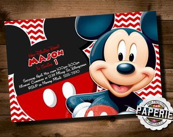 Huge Variety, Chevron MICKEY MOUSE Birthday Invitation, Chevron Mickey Mouse Invitation, Custom Party Shoppe