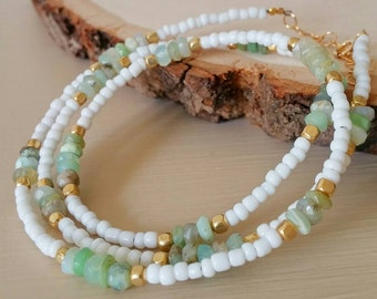 Green chryosprase, gold & white seed bead Boho chic wrap bracelet or necklace. Summer. Arm candy. Dainty. Delicate. Coachella. Gift. Layer