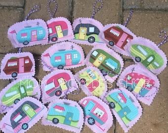 Set of 4 Retro Camper Ornament, RV Ornament, Camper Ornament, Retro Ornament, Travel Ornament, Camping Ornament, Pink Ornament, Vintage tags