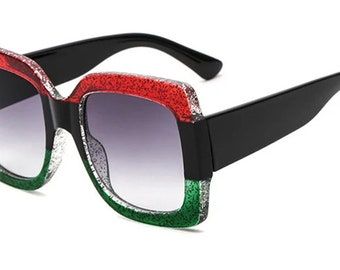 Oversized Mirror Black Red and Green Sunglasses with Crystals