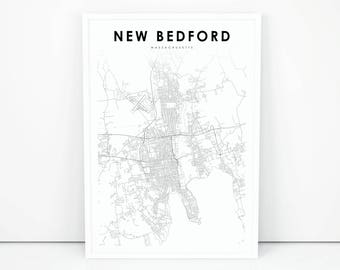 New bedford map Etsy