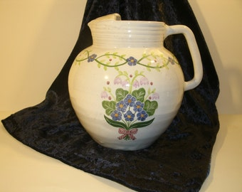 Hand Made Pottery Pitcher Large Red Clay Jug Hand Thrown Hand Painted Blue Flower Bouquet Flowers White Glaze Ice Spout