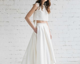 High Low Wedding Skirt , Bridal Separates , Simple Bridal Skirt with Pockets , Ivory Wedding  Skirt , Mikado Skirt With Train - LILY