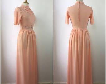 Vintage 1970s Dress - 70s Pastel Orange Maxi Dress - 70s Bohemian dress - Embroidered Detail - Small - UK 8 / US 14 / EU 46