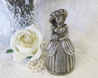 Silver Metal Bell: Lady with Hat and Victorian Dress with Bustle, Wedding Table Bell, Visitors' Bell in Working Order