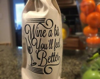 Wine Bag | Canvas Wine bag | Wine a bit | Time to Wine down | Wine tote |
