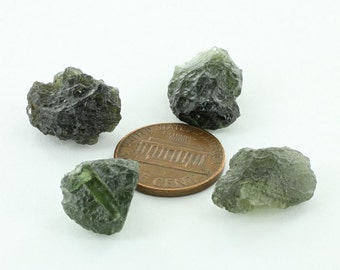 4 Piece Set of Moldavite Stones Ideal for Pendants Necklaces and Wire Wrapping or for Collectibles #ET004