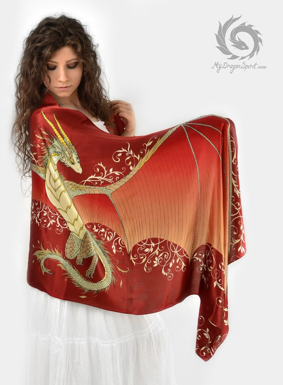 Red silk scarf with a dragon wings