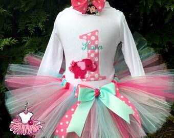 Baby Girl Elephant Outfit - Baby Girl Cake Smash - Elephant Birthday - Elephant First  Birthday - 1st Birthday Tutu Set